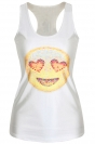 White Chic Womens Crew Neck Emoji Printed Cartoon Tank Top