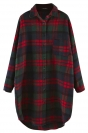 Green Plaid Thick Long Sleeve Loose Womens Blouse