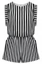 Black Ruffle Stripes Sleeveless Crew Neck Womens Cute Romper