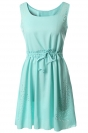 Green Plain Sleeveless Tunic Fashion Womens Midi Dress