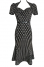 Black Ladies Polka Dot Praty Midi Dresses with Sash