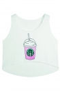 White Starbucks Cup Printed Pretty Womens Crop Top