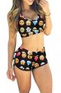 Black Emoji Printed Bikini Top & Chic Swimwear Bottom