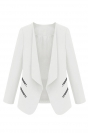 White Ladies Elegant Stand Collar with Zipper Blazer