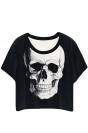 Black Ladies Crew Neck Skull Printed T-shirt