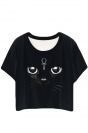 Black Classic Cat Printed Ladies T-shirt