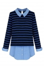 Womens Striped Turndown Collar Patchwork Long Sleeve Blouse Blue