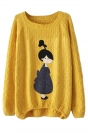 Girls Retro Loose Printed Patterned Pullover Sweater Yellow