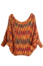 Girls Lovely Batwing Sleeve Patterned Pullover Sweater Orange