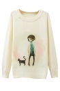 Ladies Girl and Cat Printed Crew Neck Pullover Sweater White