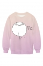 Womens Crew Neck Cute Emoji Printed Pretty Pullover Sweatshirt Purple