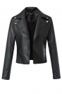 Womens Back Weave PU Leather Motorcycle Jacket Black