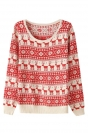Womens Reindeer Snowflake Ugly Christmas Sweater Red