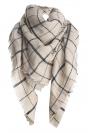 Womens Fashion Warm Plaid Shawl Scarf Beige White