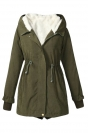 Womens Drawstring Front Thick Warm Hooded Zipper Parka Overcoat Green