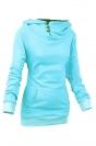 Womens Plain High Collar Button Kangaroo Pocket Pullover Hoodie Blue