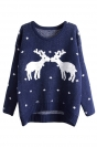 Womens Crewneck Reindeers Patterned Ugly Christmas Sweater Navy Blue
