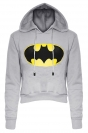 Womens Long Sleeve Color Block Batman Fleece Cropped Hoodie Gray