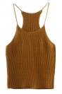 Womens Sexy Plain Crewneck Crochet Camisole Top Khaki