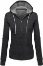 Womens Zip Up Drawstring Long Sleeve Hoodie Dark Gray