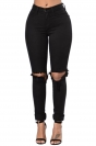 Womens High Waist Cut Out Knee Plain Jeans Black