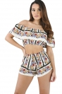 Womens Sexy Ruffle Boat Neckline Crop Top&Printed Shorts Suit White