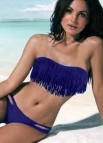 Womens Hot Strapless Fringe Bikini Set