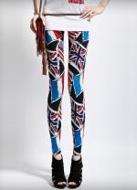 Blue British Flag Print Leggings