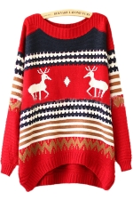Red Tacky Reindeer Stripe Pattern Womens Christmas Xmas Sweater