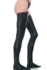 Black Sexy Womens PU Leather Long Stocking