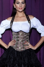 Retro Ladies Embroidery Brocade Under Bust Corset with Straps