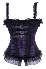 Purple Cool Ladies Gothic Lace Up Lingerie Button Corsets with Strap