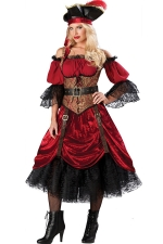 Queen Of Hearts Dance Halloween Silk Pirate Costumes