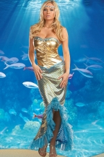 Gold Halloween Sexy Womens Mermaid Fancy Sea Queen Costume