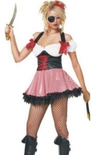 Red Wild Womens Halloween Strip Pirate Costume