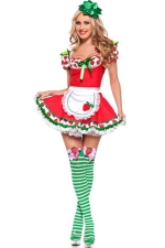 Red Sexy Ladies Strawberry Shortcake Halloween Maid Costume