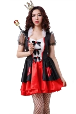 Red Evil Halloween Queen of Hearts Sexy Womens Costume