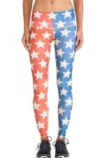 Red Cool Ladies Stars Printed Color Block Flag Leggings