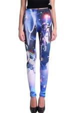 Blue Chic Ladies Kid Printed Slimming Galaxy Leggings
