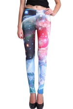 Blue Modern Ladies Beauty Printed Fit Galaxy Leggings