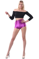 Purple Elegant Ladies Plain Liquid High Waist Short