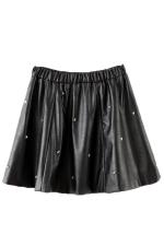 Black Rivet Ruffle Ladies Sexy Leather Fashion Skirt