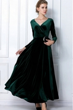 Green Ladies Sexy V Neck Long Sleeves Pleuche Vintage Evening Dress