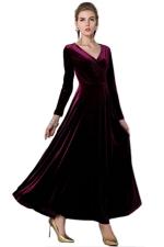 Ruby Ladies Sexy V Neck Long Sleeves Pleuche Vintage Evening Dress