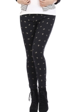 Black Cute Womens Cool Skeleton Printed Lined Leggings