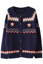 Navy Blue Cool Ladies Cardigan Heart Pattern Christmas Sweater
