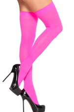 Rose Red Modern Ladies Candy Color Plain Long Stockings