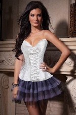 White Sexy Womens Bowknot Slimming Royal Over Bust Corset