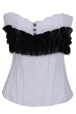 Black Sexy Ladies Cascading Ruffle Slimming Over Bust Corset