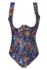 Blue Pretty Ladies Flower Printed Lingerie Corset with Straps